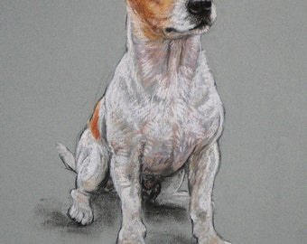 Jack Russell Terrier dog art dog gift dog lover gift  LE art print from a soft pastel sketch available unmounted or mounted ready to frame