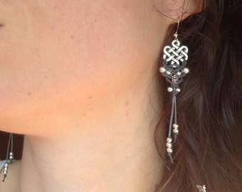 Macrame earrings endless knot tibetan boho silver or brass bohemian women jewelry by Creations Mariposa