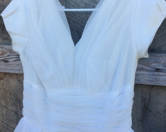 Vintage custom made white formal dress