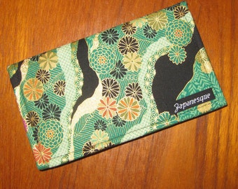 Checkbook Cover Japanese Asian Chrysanthemum and River Design Green