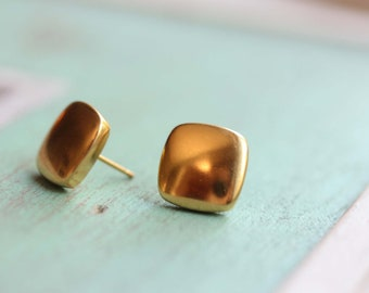 Square Studs, Gold or Silver