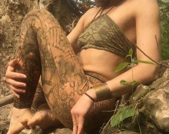 Custom-stenciled festival crop top and leggings