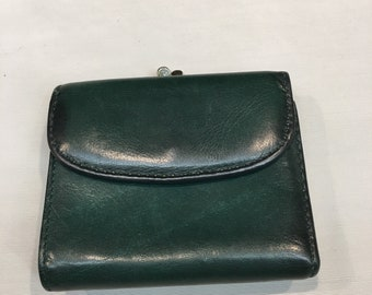 Vintage Dark Green Leather Wallet with Attached Coin Purse, Green Top Grain Leather Wallet Four Inches Wide and Four Inches Tall