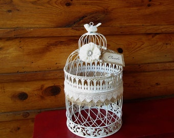 Wedding Bird Cage ~ Card Holder - Large Rustic Card Box - Wedding Birdcage - Decorative Birdcage - Wedding Reception - Gift Table