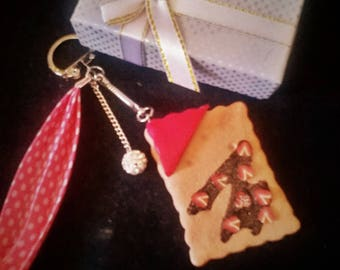 Jewelry bag or Keychain greed biscuit chocolate Strawberry