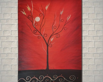 "Original Oil Painting. Abstract RED painting. Landscape Contemporary Art. RED WORLD  36"" by 24"" ."