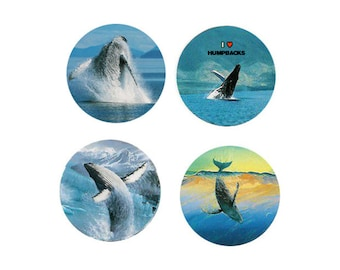 Humpback Whale Magnets:  4 Happy Humpbacks for your home, your collection,  or to give as a unique gift