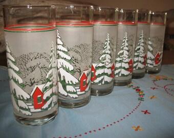 6 Christmas glasses winter theme.