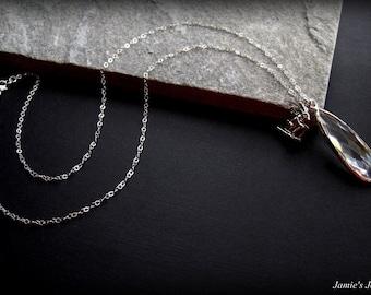 Sterling Silver Clear Quartz Ski Bunny Necklace - Modern Sterling Silver Necklace - Ski Lover Gift - Winter Necklace - Unique Ski Gift