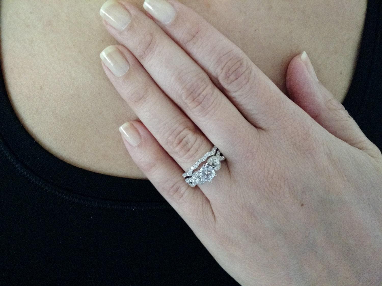 Infinity Split Shank Diamond Engagement Ring and Wedding Band