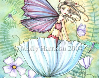 Fairy Art Print - Sweetness of Spring - Colorful Fun Garden - Whimsical Fairy Fine Art Print by Molly Harrison 9 x 12