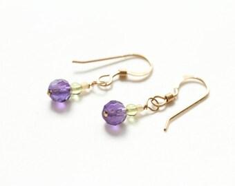 mothers day earrings / tiny purple earrings / august birthstone earrings peridot / small drop earrings / purple dangle jewelry