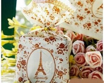 10 plastic pockets large Eiffel Tower decor, floral 19 * 12cm
