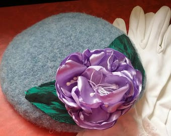 hand blocked ladies blue felt pillbox  with purple flower