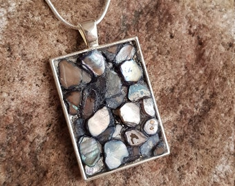 Mosaic pendant with grey-colored river shell