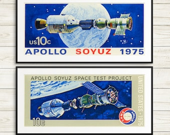Antique NASA poster set, space exploration wall art, kids room astronaut art, Apollo Soyuz Space Test, space posters, NASA wall art prints