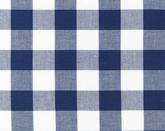 "Navy 1"" Plaid Cotton, Carolina Gingham, Scarf Fabric,Navy White Plaid Quilting fabric, Apparel Fabric, Gingham cotton Scarf, Robert Kaufman"