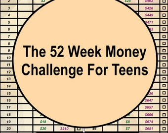 The 52 Week Money Challenge For Teens, New Years Resolution, Savings Planning, Savings Tracker, Financial Planning, 52 Week Savings Tracker