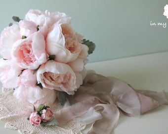 Bridal bouquet  ,Artificial Bouquet ,silk flower bouquet , Peony bouquet , pink , white , Bouquet with Groom 's Boutonniere  #No43_007P
