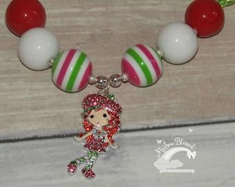 Strawberry shortcake inspired chunky bubblegum bead necklace