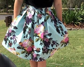 Grace skirt, pleated waist skirt, wasit skirt, skirt with pockets, vintage skirt