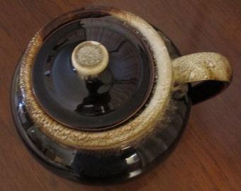 Vintage Brown Glazed Bean Pot