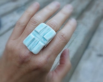 "Porcelain ring ""Positivity"" Aqua crackled glaze with adjustable band."