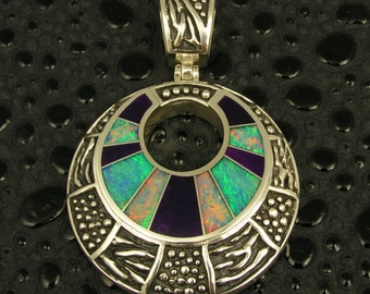 Sterling silver pendant inlaid with Australian opal and sugilite by Mark Hileman.
