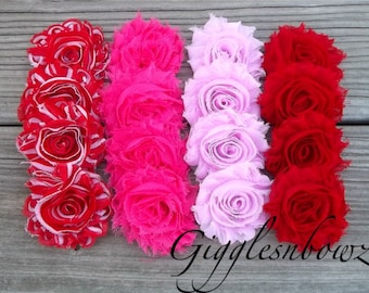 VaLENTiNE'S DaY Set of SIXTEEN Shabby Frayed Vintage look Chiffon Rosette Flowers- ReD, PiNK, Sh PiNK, ReD STRiPe