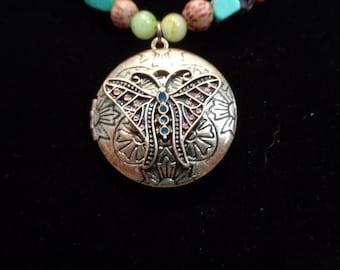 Brass Butterfly Locket on Beaded Necklace