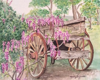 Original watercolor of an old wagon with a vine of purple wisteria.