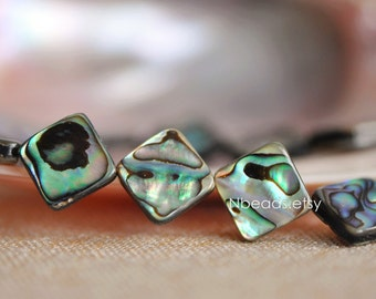 Abalone Shell Flat Square beads 12/ 14mm (V1235)/ Full strand