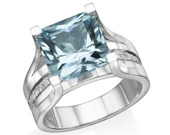 5 Carat Aquamarine Engagement Ring, Natural Aquamaring Ring WIth Diamonds