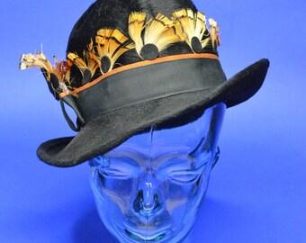 Rare Vintage Estate Jack McConnell Black Hat Brown Feather Black Dot