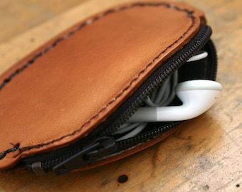 Coin Purse. Leather coin purse. Leather ear bud case. 3rd Third Anniversary Gift for Husband or Wife.