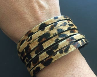 Leopard print leather multi strand cuff bracelet
