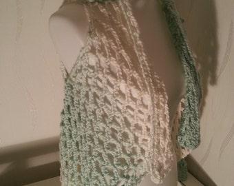 Vest, lace vest, crochet jacket, summer vest, jacket, crochet, white, green