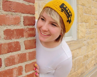 Crochet School Bus Hat in Yellow - crochet beanies for men or women - crochet beanies for boys or girls - school beanies