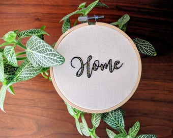 "Hand Embroidered 4 inch ""Home"" - Black outline with multiple color fill"