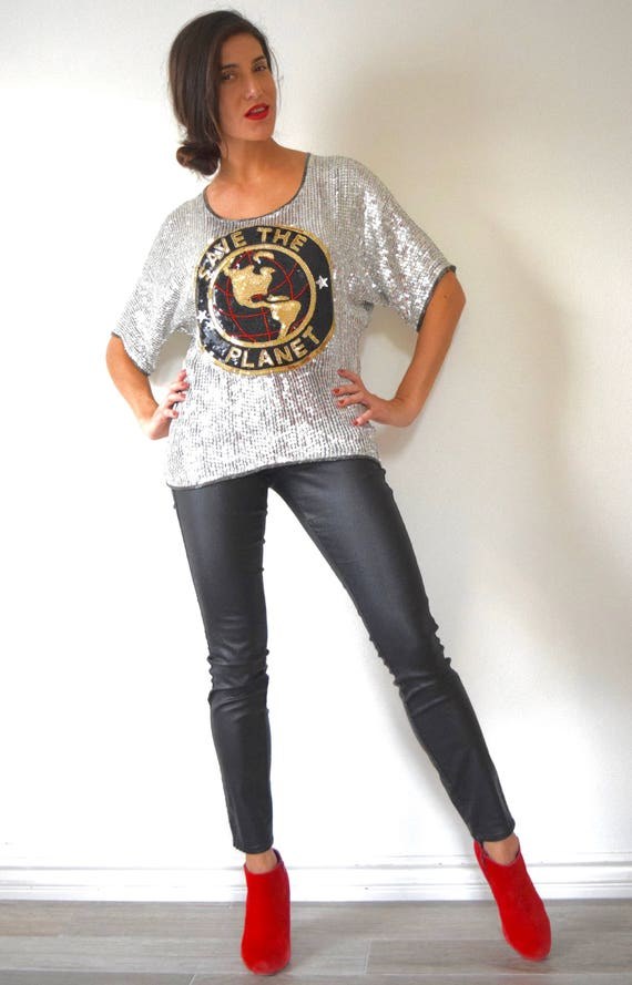 Vintage 80s 90s SAVE THE PLANET Novelty Silver Beaded and Sequined Blouse