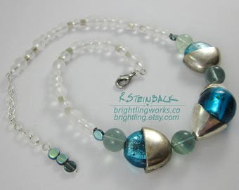 Encapsule; Statement Necklace of Adjustable Length in Brilliant Aqua Blue & Silver with Frosted Glass, Natural Fluorite and Iridescent Beads