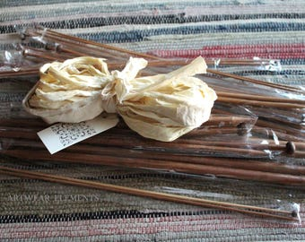 Clearance, Knitting Needles + 10 Yards Cream Sari Silk Ribbon, Bamboo Single Pointed knitting needles, 36pc Lot, Sari Silk, ArtWear Elements