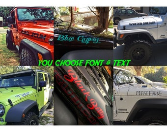 Custom Text Jeep Wrangler Hood Decals (set of two) choose font & text.