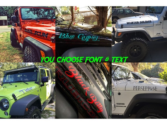 Custom text jeep wrangler hood decals set of two choose font
