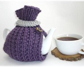 Tea Cosy, Tea Cozy, Purple Tea Cosy, Handknit Tea Cozy, 6 cup teapot cozy