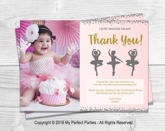 DIGITAL DOWNLOAD - Personalised Birthday Party Thank You Cards, Ballerina, Photo, Pink and Gold, Silver, GlitterBirthday Party - PRINTABLE