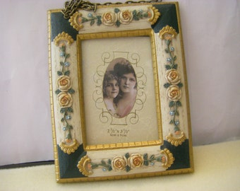 "Compact Decorative Picture Frame  hangs from chain Ornate Roses 2.5"" X 3.5"""