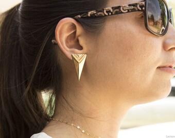 Long Triangle Spike Post Stud Earrings, Gold Stud Earrings, Easy to Wear Earrings, Gift for Her, Edgy Gold Earrings, Simple, Long Triangle