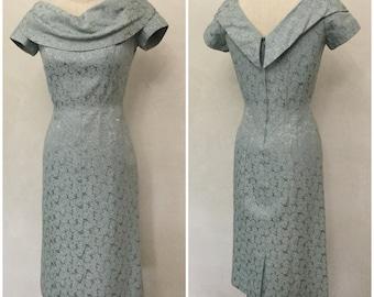Vintage Blue Brocade Evening Wiggle Dress