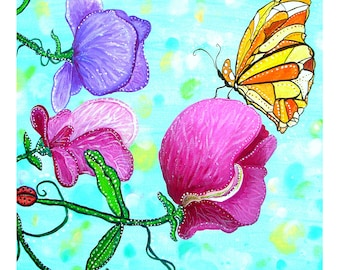 Sweet Peas. Flowers and Butterfly A3 Art Poster Print.